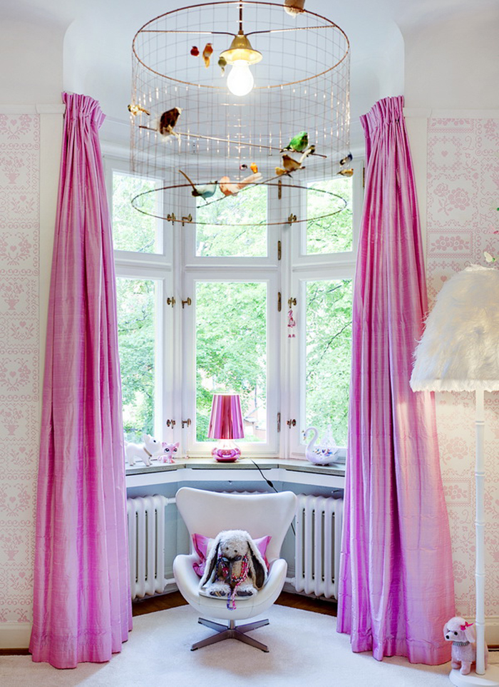 dramatic pink curtains for a girl's room