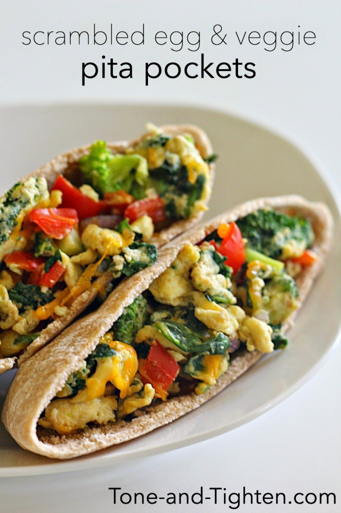 Delicious Scrambled Egg and Veggie Pita