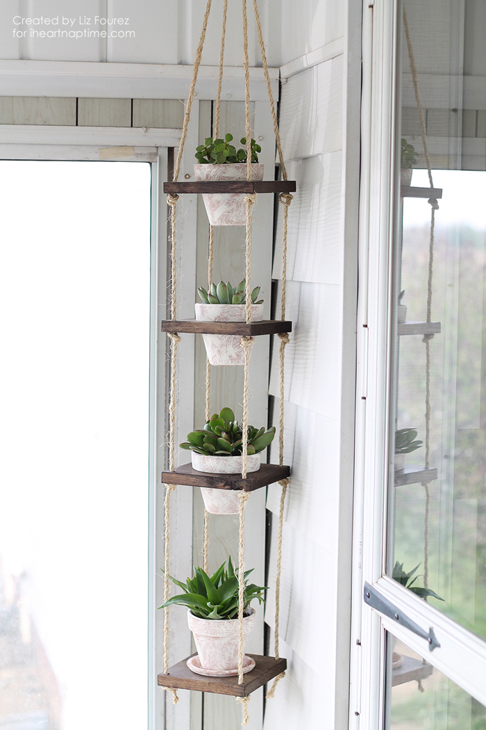 a peaceful whitewashed plant hanger how-to