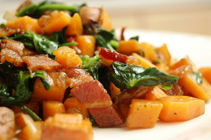 Sweet potato and greens scramble
