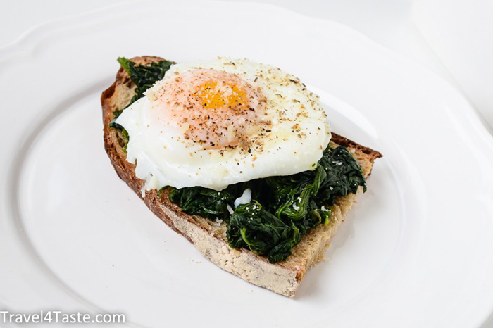 Egg and greens on toast