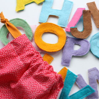 Fabric Scrap Alphabet and Drawstring Bag