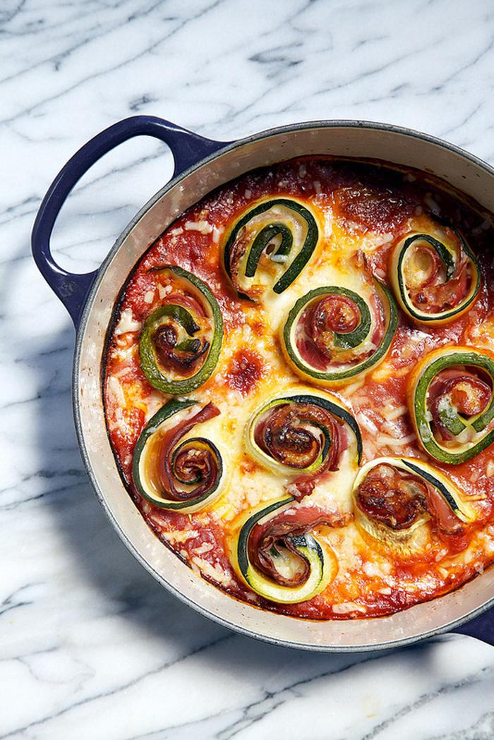 One Pot Zucchini Prosciutto and Mozzarella Rolls