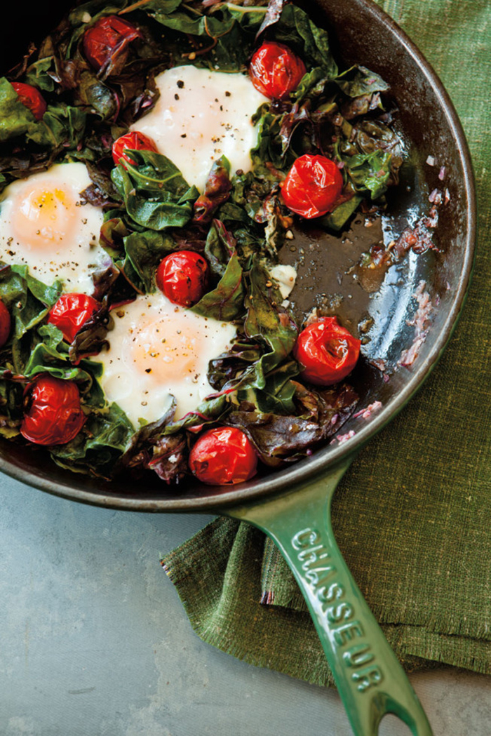 Polenta, fried eggs and greens