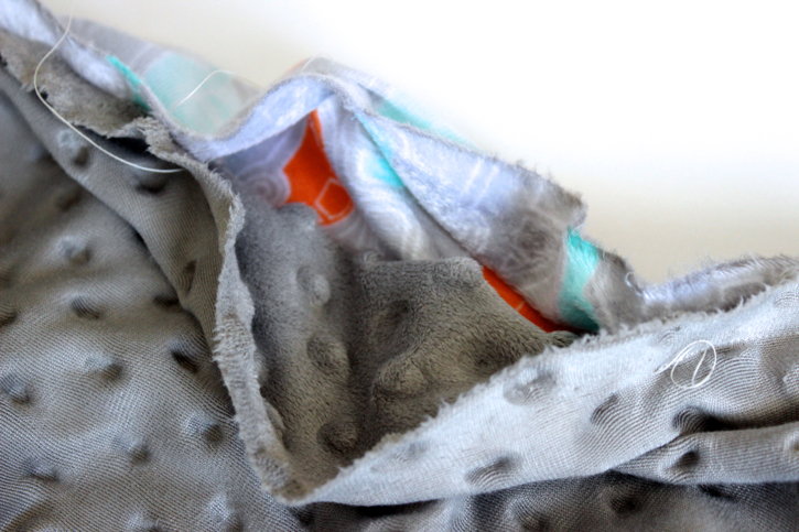 Leave an opening  for Minky Baby Blanket Tutorial