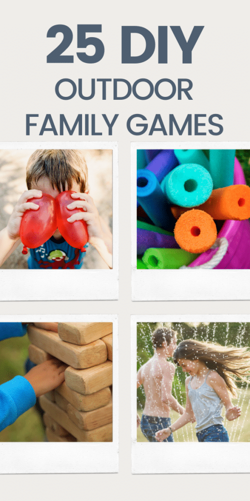 text: 25 diy outdoor games - image of balloons and ring toss