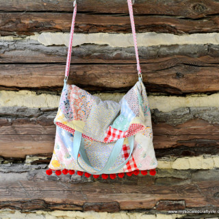 Upcycled Vintage Quilt Crossbody Tote Bag