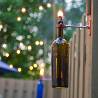 Recycled Wine Bottle Backyard Torch