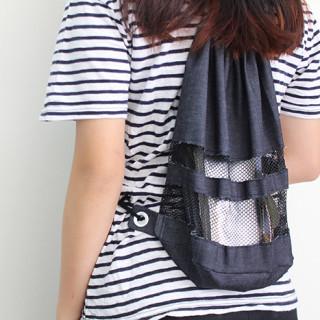 Mesh Panel Drawstring Bag