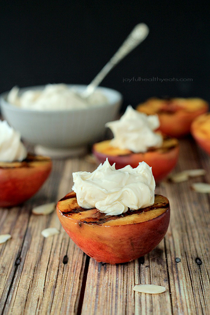 Grilled Peaches with Maple Honey Mascarpone Cheese