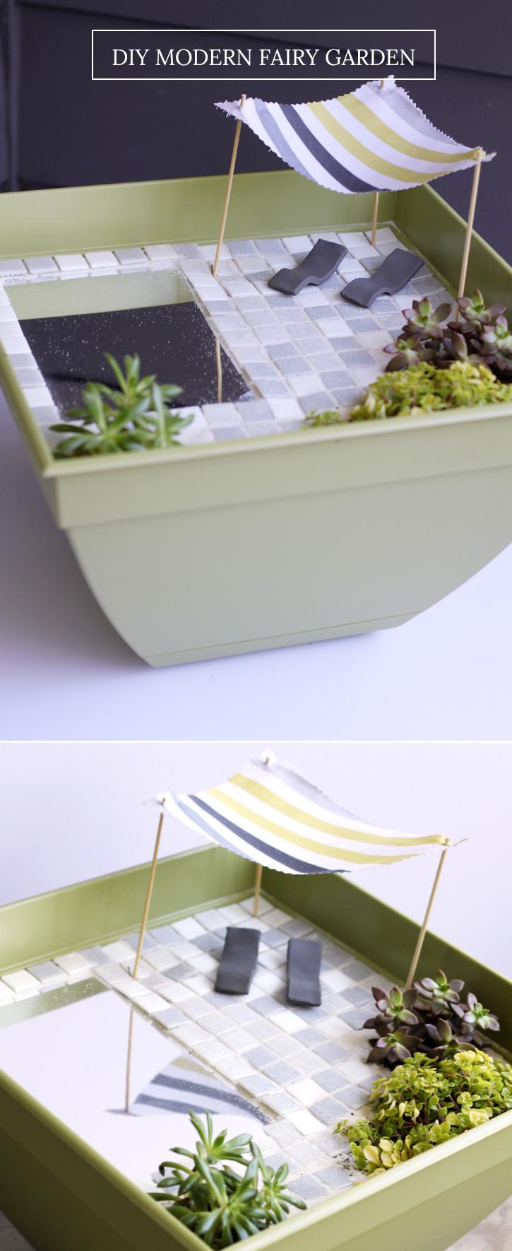 DIY Modern Fairy Garden tutorial - mirror for a pond!