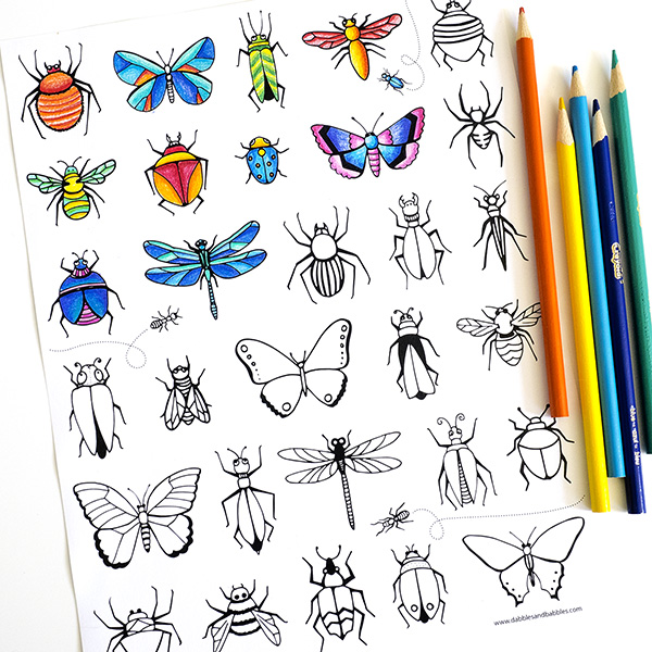 Printable bugs coloring page