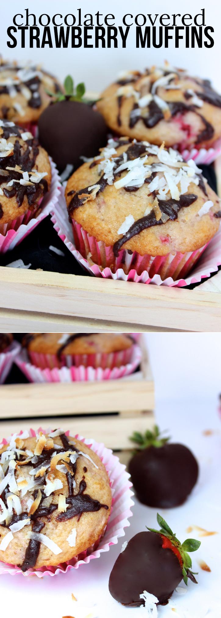 chocolate covered strawberry muffins