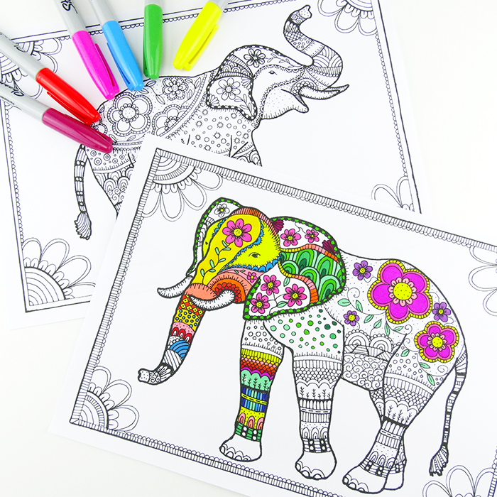 Elephant Coloring Page for Older Kids and Adults