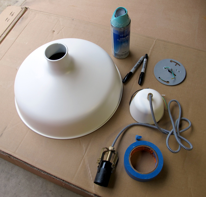 supplies for an IKEA pendant lamp hack