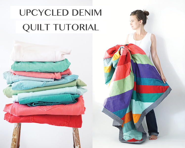 Gorgeous upcycled denim quilt tutorial