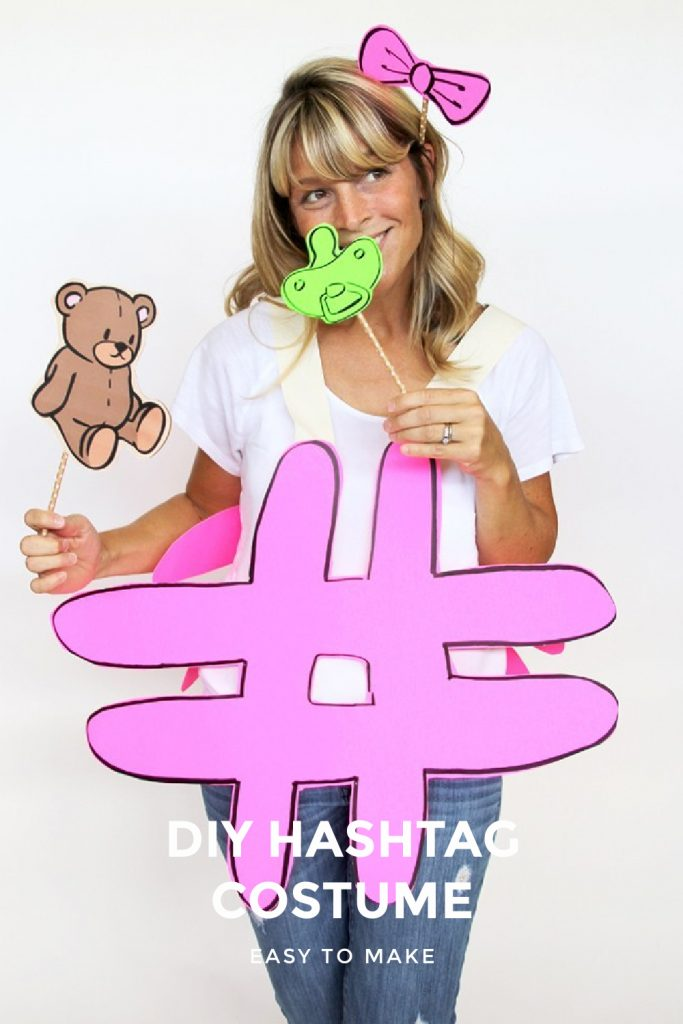 DIY hashtag costume tutorial and instructions pink white shirt teddy bear bird