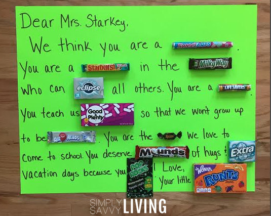Make an adorable DIY Teacher Appreciation candygram!