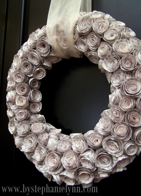 Gorgeous faux rosewood paper wreath tutorial