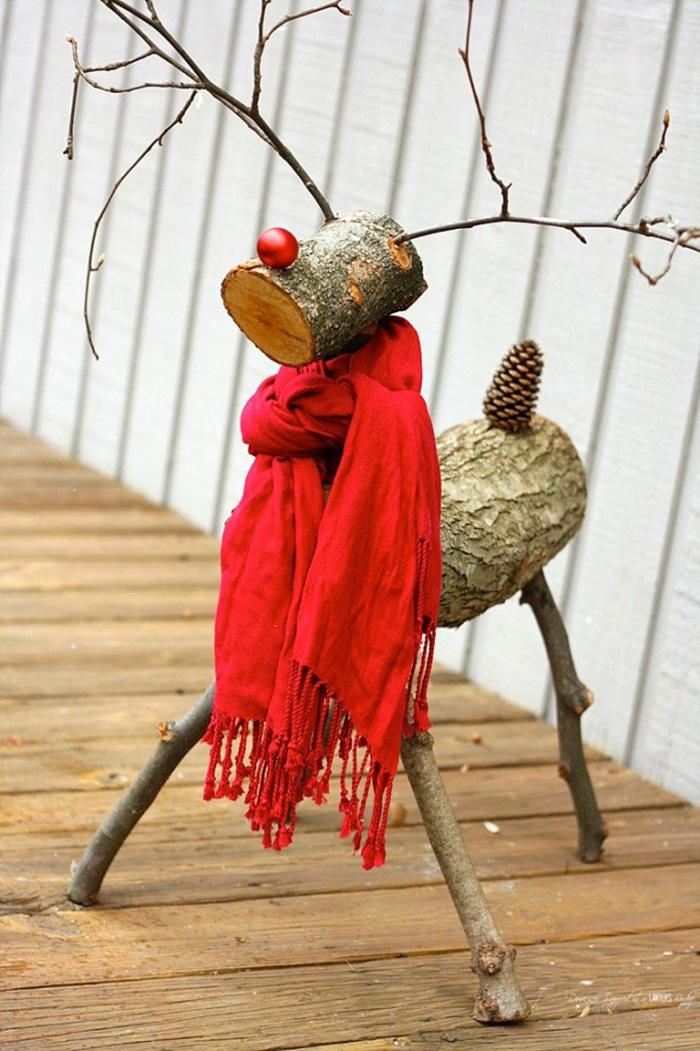 Make a log reindeer
