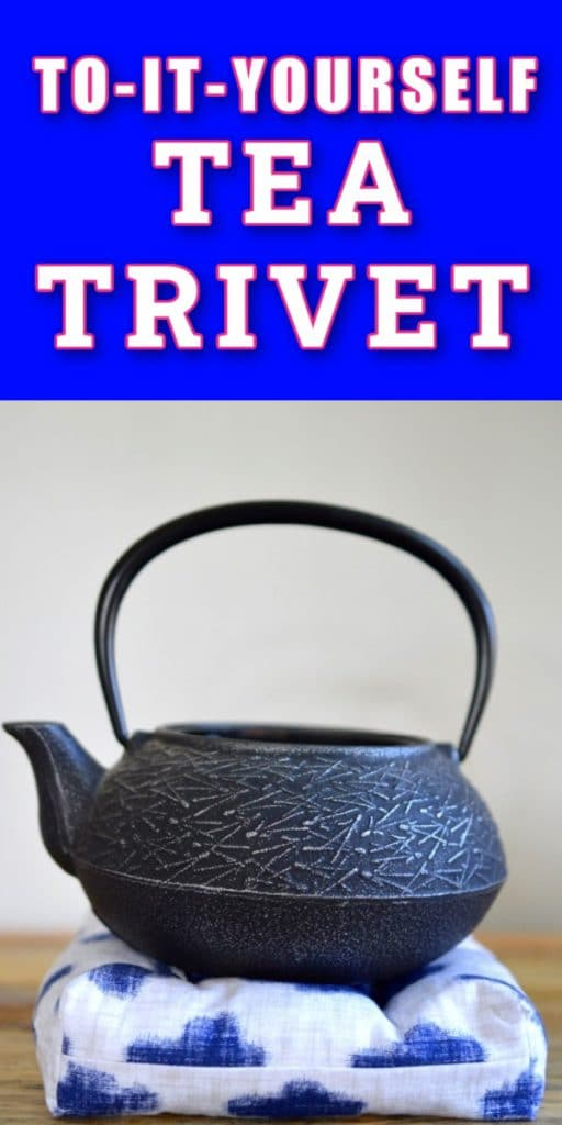 DIY lavender tea trivet blue cloud fabric black teapot