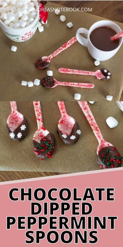 peppermint candy shaped like spoons with chocolate on the spoon end - text: chocolate dipped peppermint candy