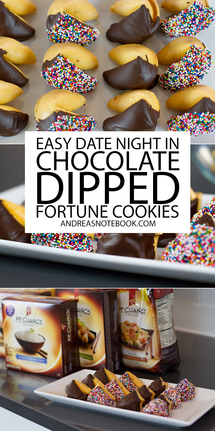 Make chocolate dipped fortune cookies