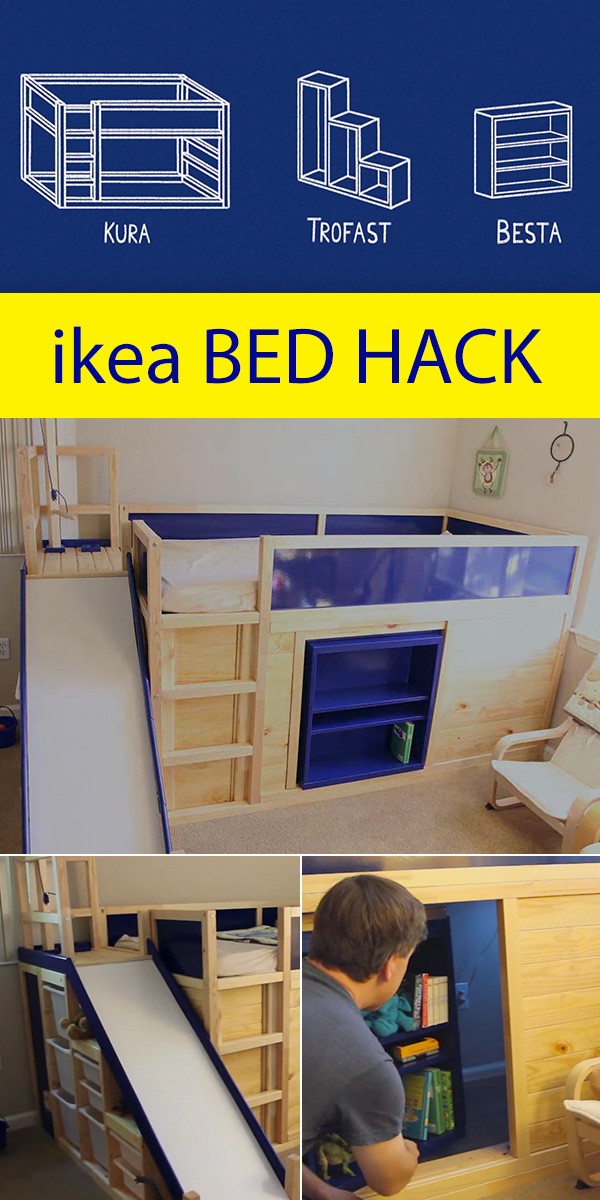 ikea kids bed hack with secret room. Black Bedroom Furniture Sets. Home Design Ideas