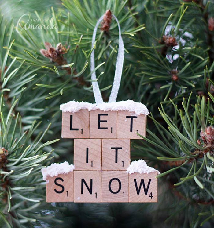 Let It Snow Scrabble Ornament