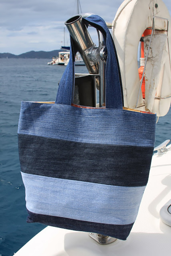 Denim vacation tote