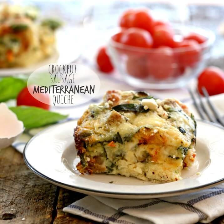 Crockpot Sausage Mediterranean Quiche
