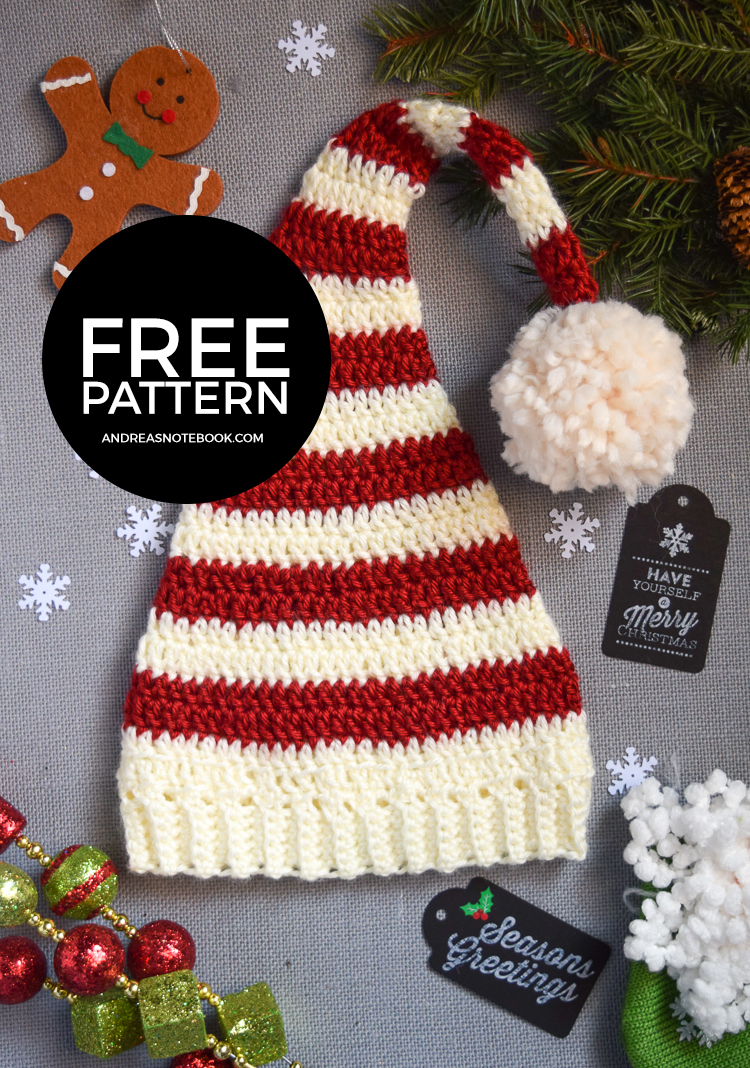Free Crochet Pattern Long Elf Hat : Pixie Elf Striped Newborn Hat Crochet Pattern - Andreas ...