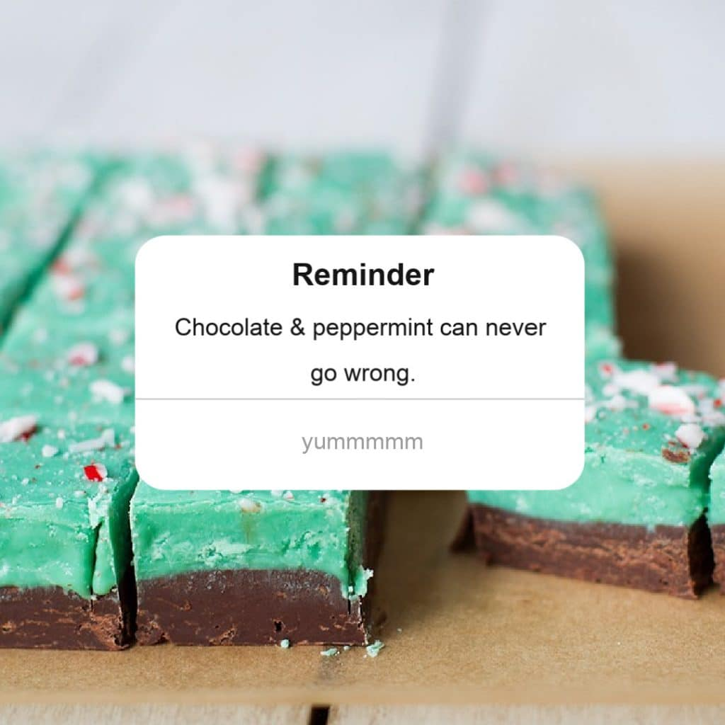 reminder popup chocolate peppermint fudge green brown candy cane