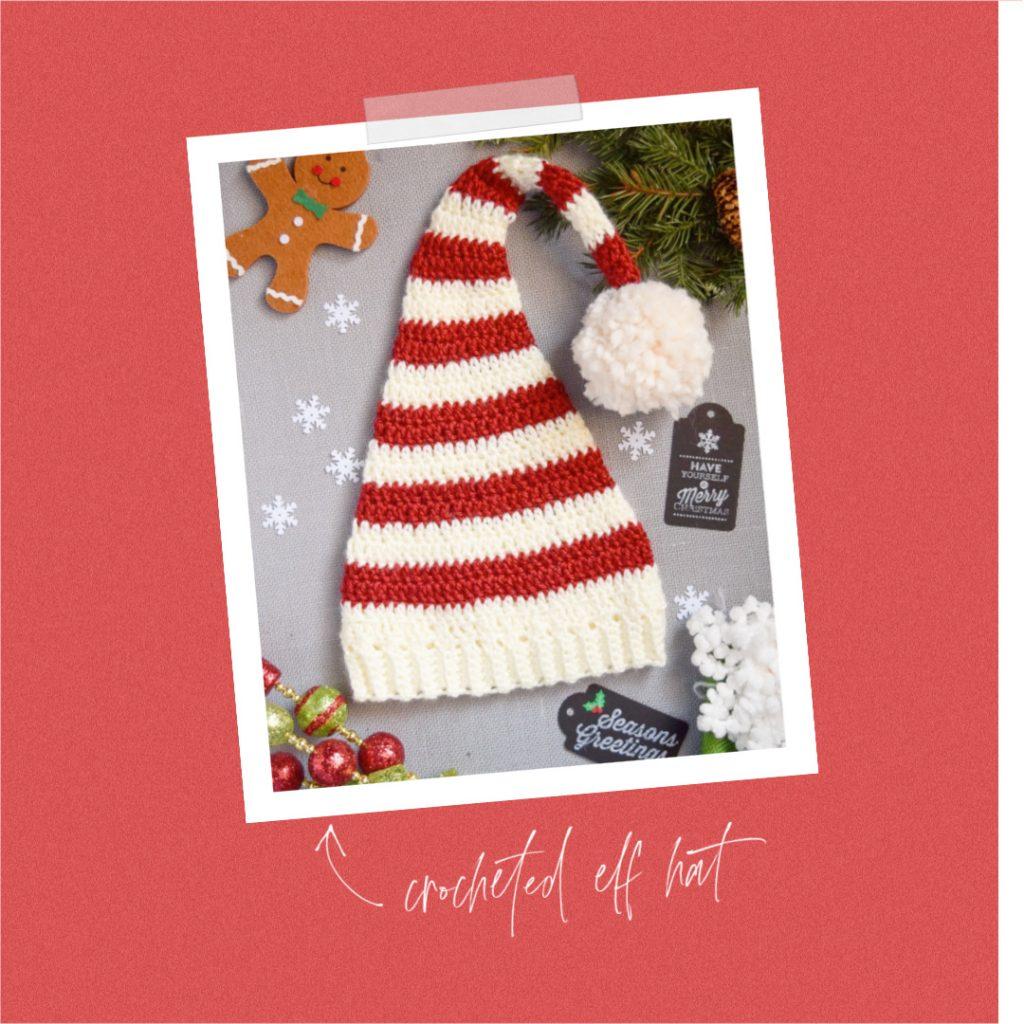 FREE Pixie Elf Hat Crochet Pattern and Tutorial red white strip pom pom