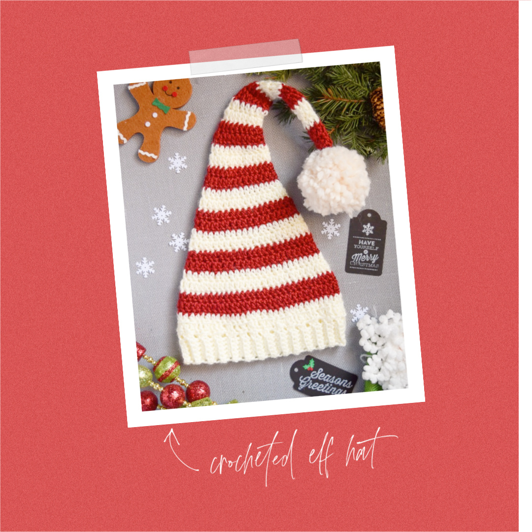 FREE Pixie Elf Hat Crochet Pattern and Tutorial red white strip pom pom