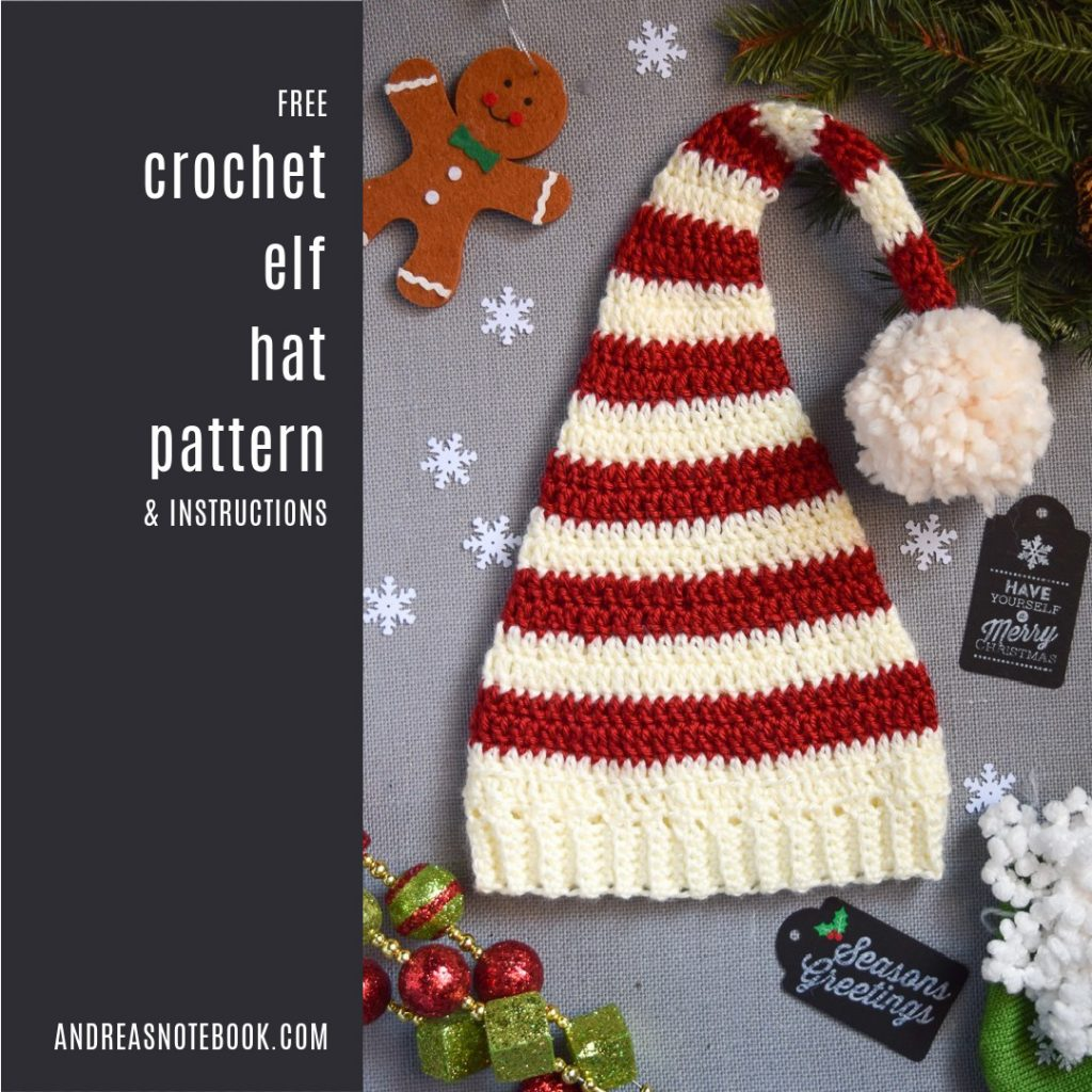 FREE Pixie Elf Hat Crochet Pattern and Tutorial red white gingerbread holly pom pom