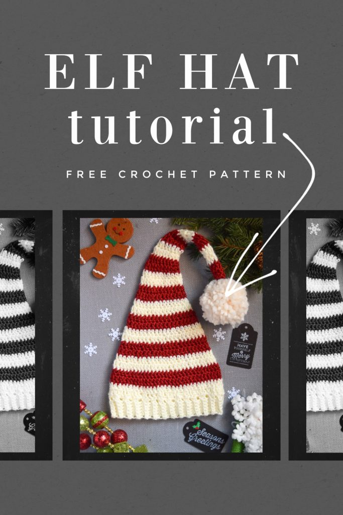 FREE Pixie Elf Hat Crochet Pattern and Tutorial stripes pom pom
