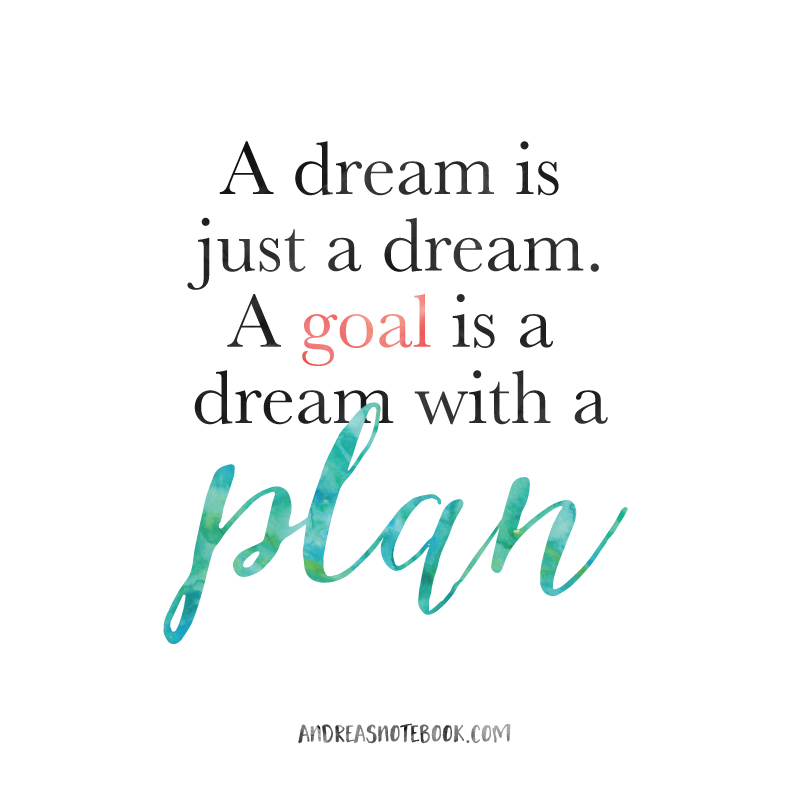 A dream is just a dream. A goal is a dream with a plan! AndreasNotebook.com