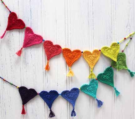 crochet heart bunting tutorial