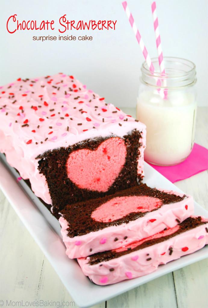 surprise inside heart cake