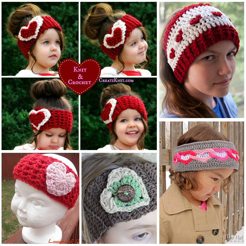 Crochet Heart Ear Warmer Tutorials And Patterns