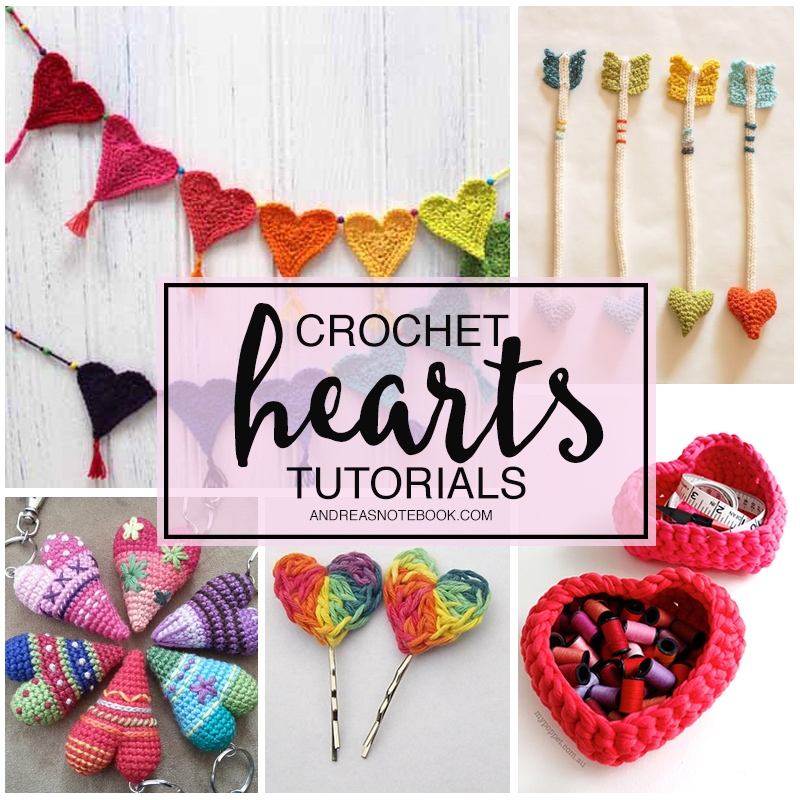 crochet hearts tutorials