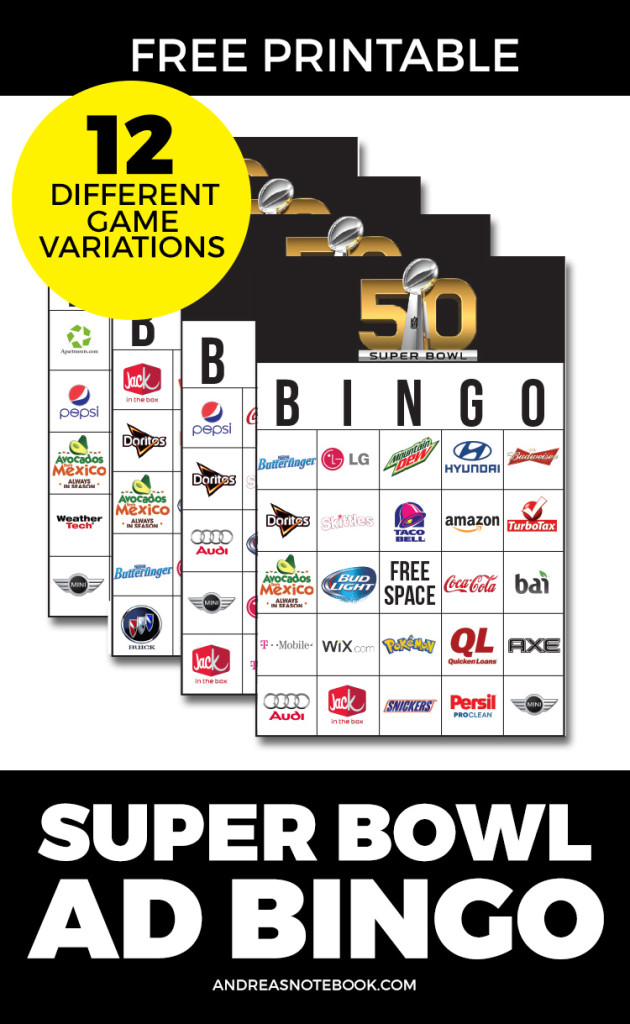 printable Super Bowl Ad Bingo