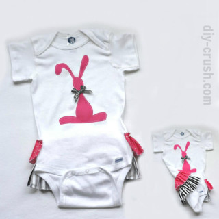 Add Ruffles to a onesie (plus free bunny applique')