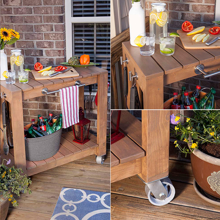 DIY rolling bar cart - free plans