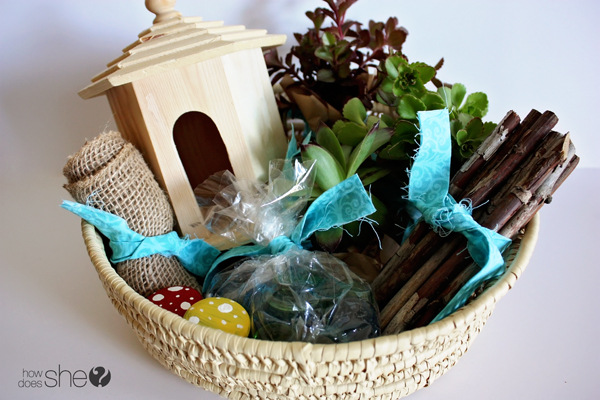 DIY fairy garden gift basket