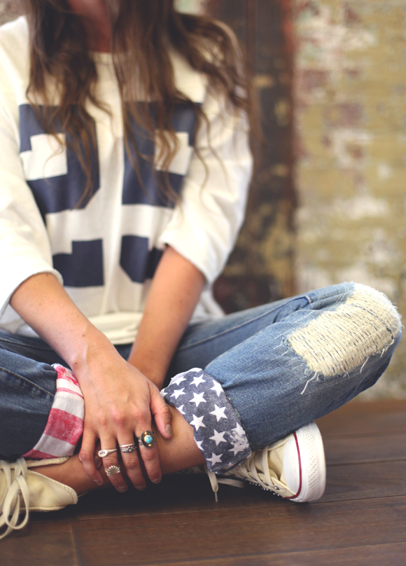 refashion jeans with american flag cuffs
