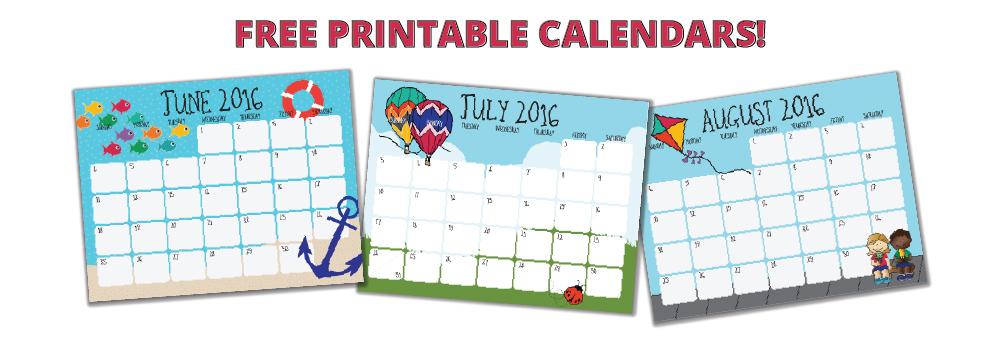 FREE printable summer calendar