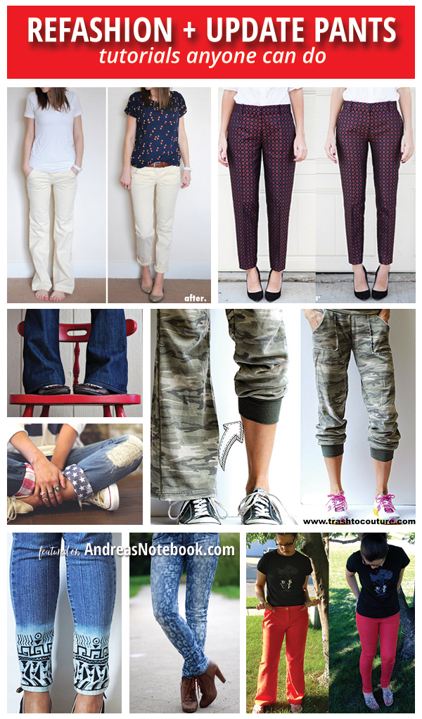 update and refashion pants tutorials