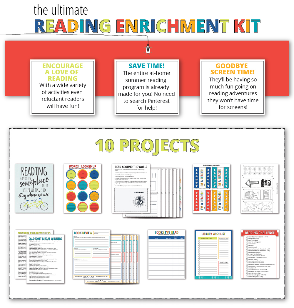 Reading Enrichment Printable Kit - includes a Reading Passport activity, book reviews, book lists, bookmarks, reading punch cards, wall art and much more!